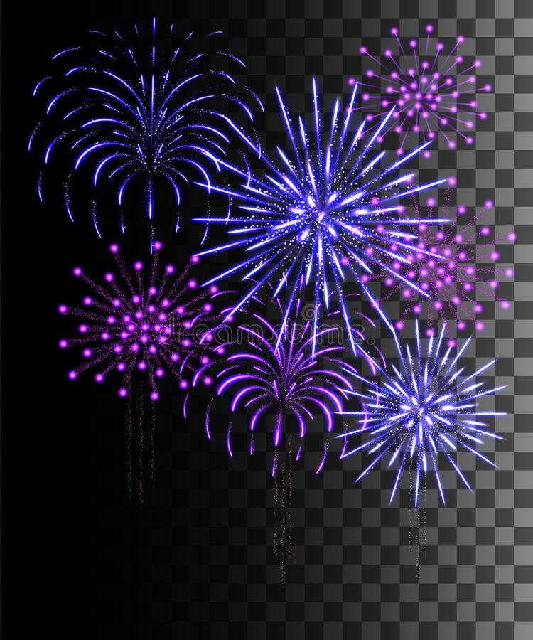 Free Glowing Collection. Purple And Blue Firework, Light Effects Isolated On Transparent Background. Sunlight Lens Flare, Stars. Stock Photos - 138932433