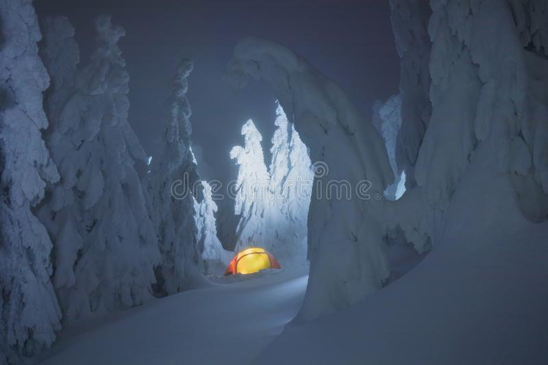 Glowing colorful camping tent in snow mountains in the winter forest into a fairy tale. Journey through the winter alpine forests. royalty free stock photos