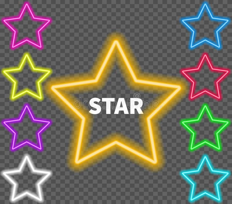 Glowing colorful neon signs of stars on a transparent background. royalty free illustration