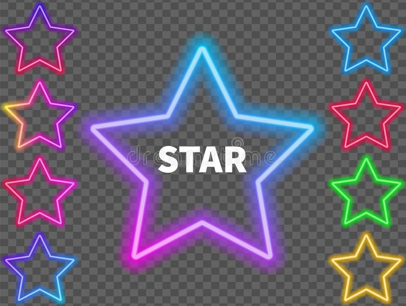 Glowing colorful neon signs of stars on a transparent background. Vector illustration vector illustration