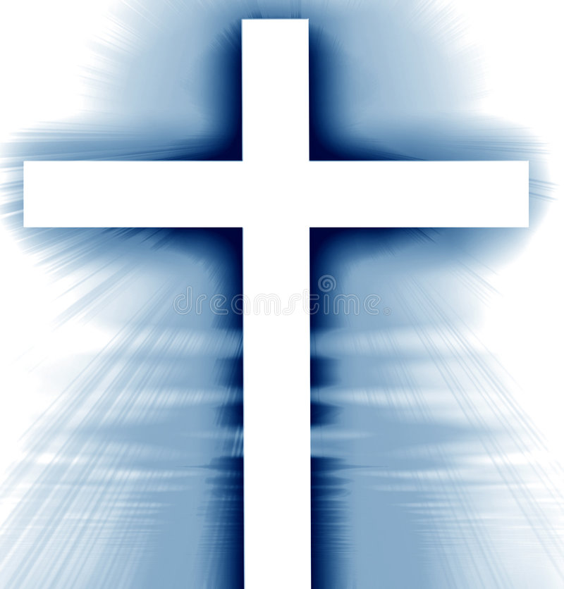 Glowing cross. On a blue background with rays vector illustration