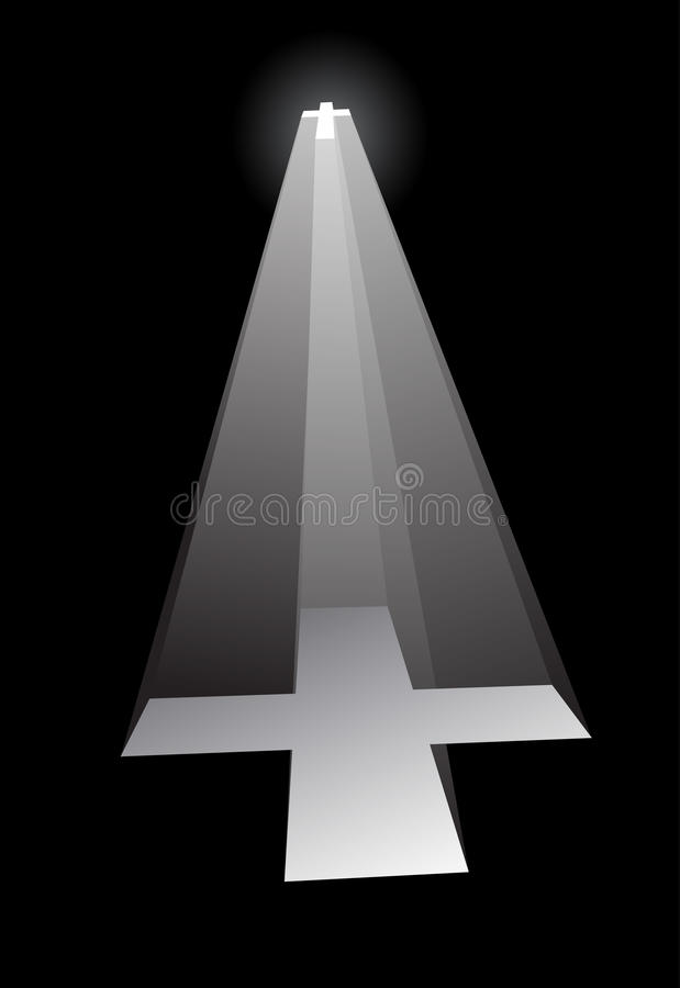 Download Glowing cross in the dark stock vector. Illustration of tunnel - 18103414