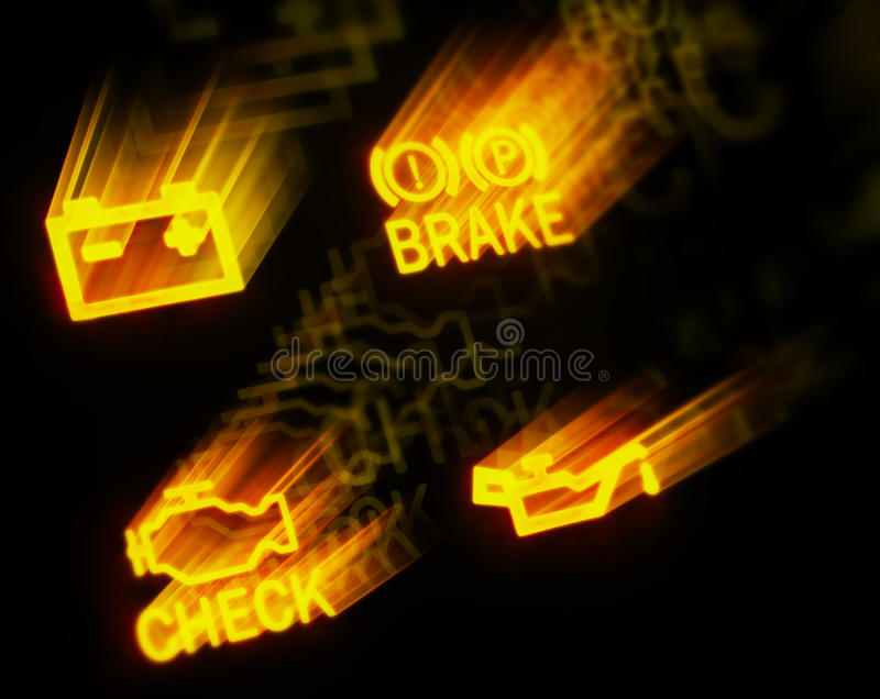 Glowing dashboard signs royalty free stock photography