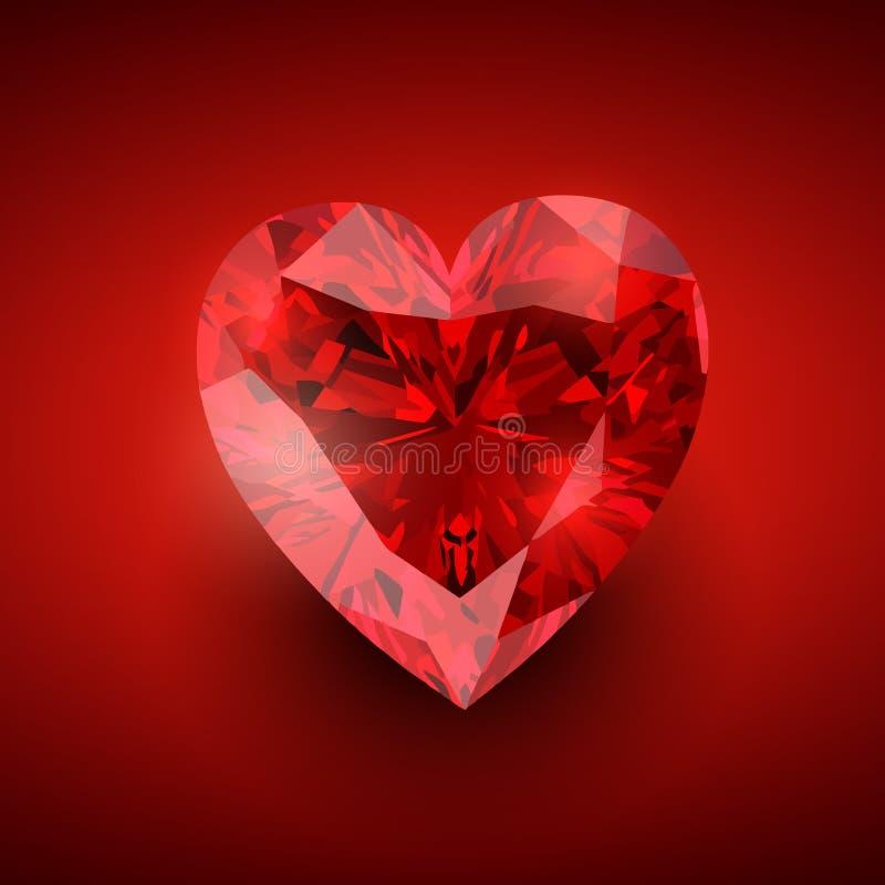Glowing diamond heart stock illustration