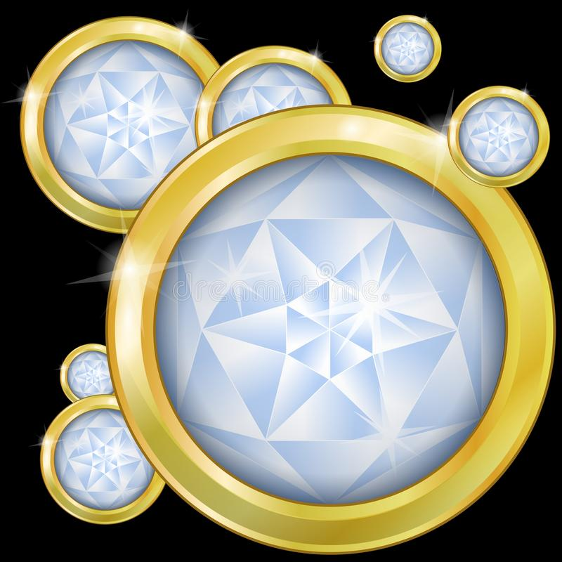 Glowing diamonds set in gold on a black background royalty free stock photo