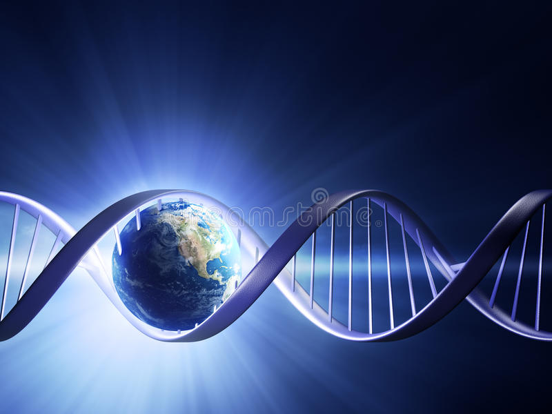Glowing earth DNA strand stock illustration