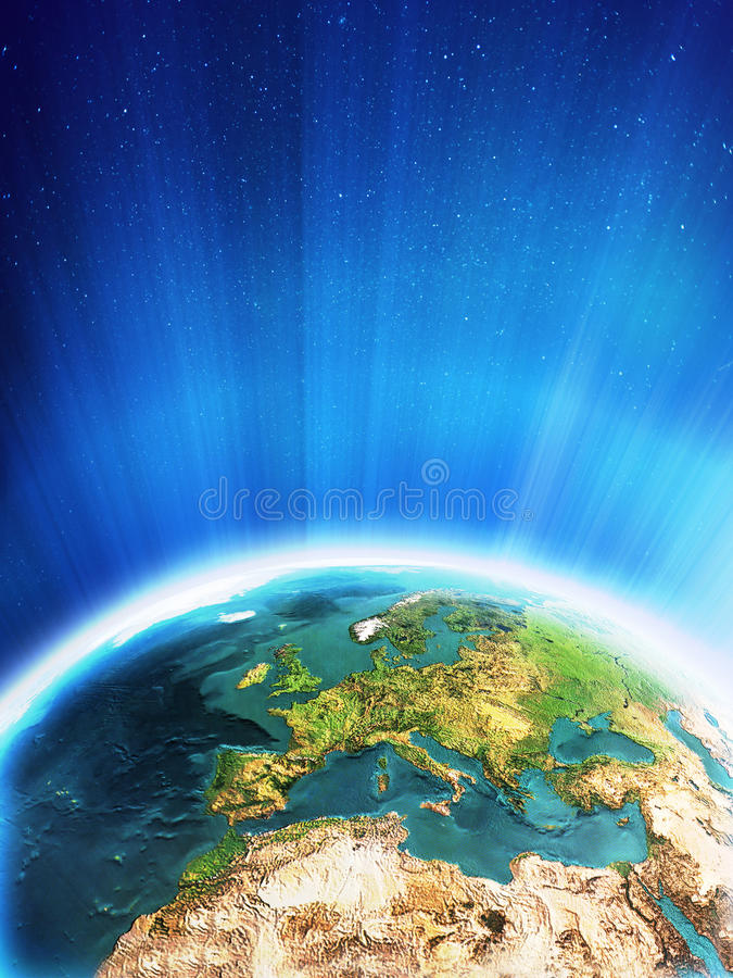 Glowing Earth - Europe vector illustration