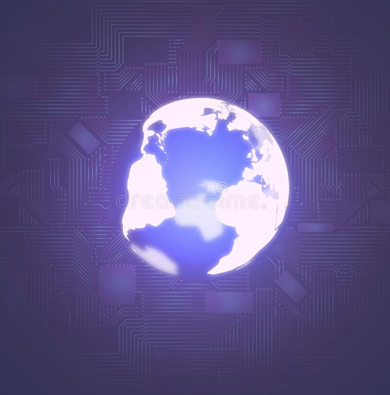 Glowing earth globe on dark background with microscheme stock photography