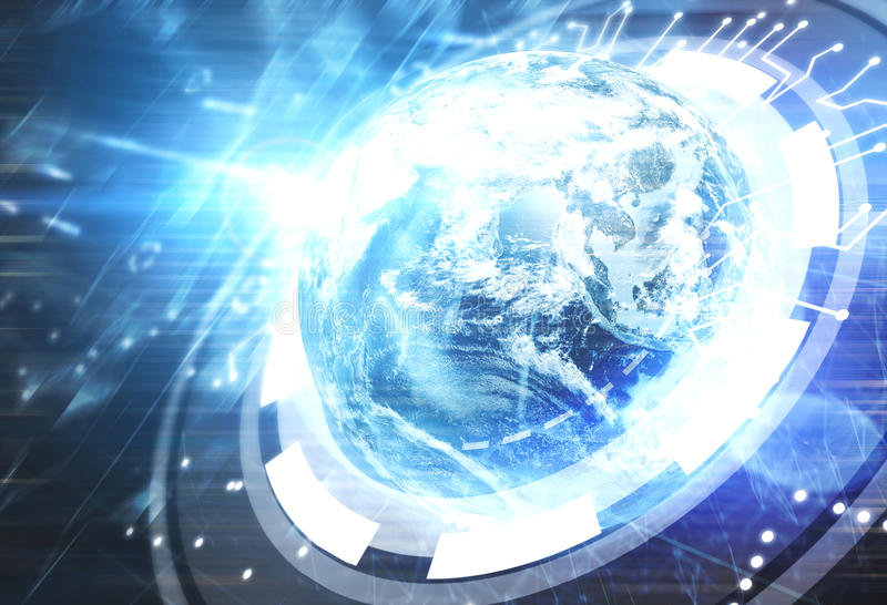 Glowing Earth hologram, HUD, future. Close up of a colorful Earth hologram with circuits glowing a bright blue light in an outer space. Concept of the future royalty free illustration