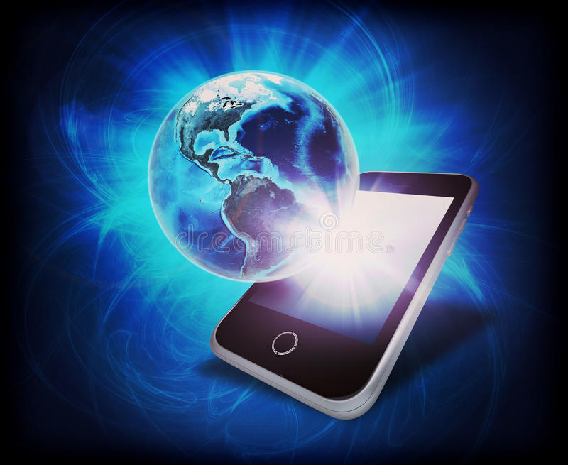 Glowing Earth with mobile on abstract background stock photos