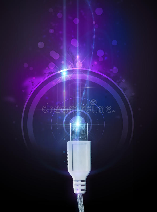 Download Glowing electric cable stock image. Image of computer - 38305329