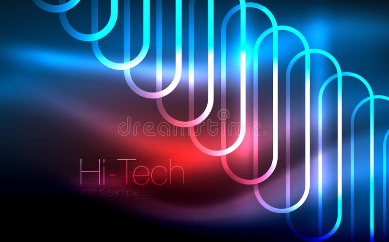 Glowing ellipses dark background, waves and swirl, neon light effect, shiny vector magic effects vector illustration