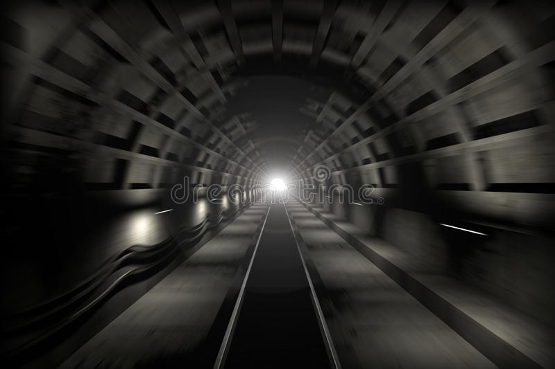 Download Glowing End Of Subway Tunnel Stock Illustration - Image: 14309289