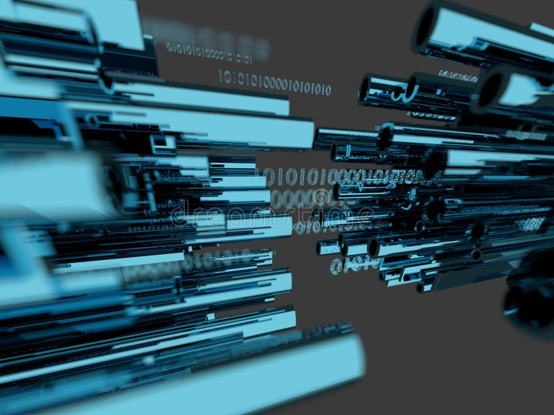 Glowing Fiber Optic Channels Closeup . Fiber Channel Background. 3d render royalty free illustration