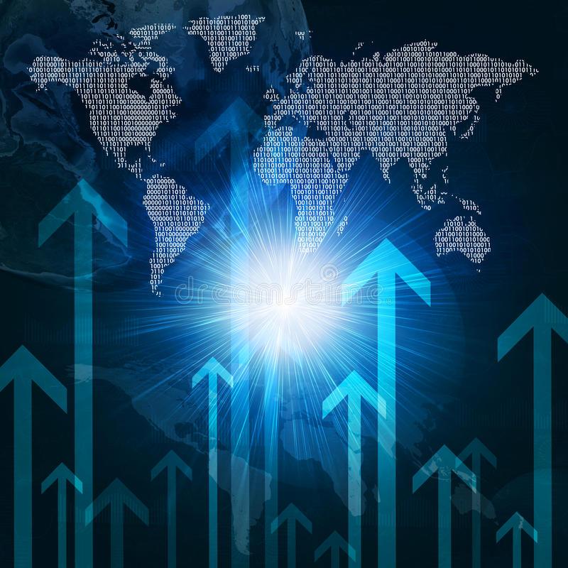 Download Glowing Figures, Arrows And World Map Stock Image - Image of binary, figures: 41427703
