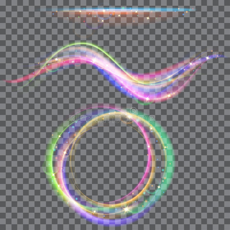 Free Glowing Fire Rings And Waves With Glitter Stock Photography - 72558082