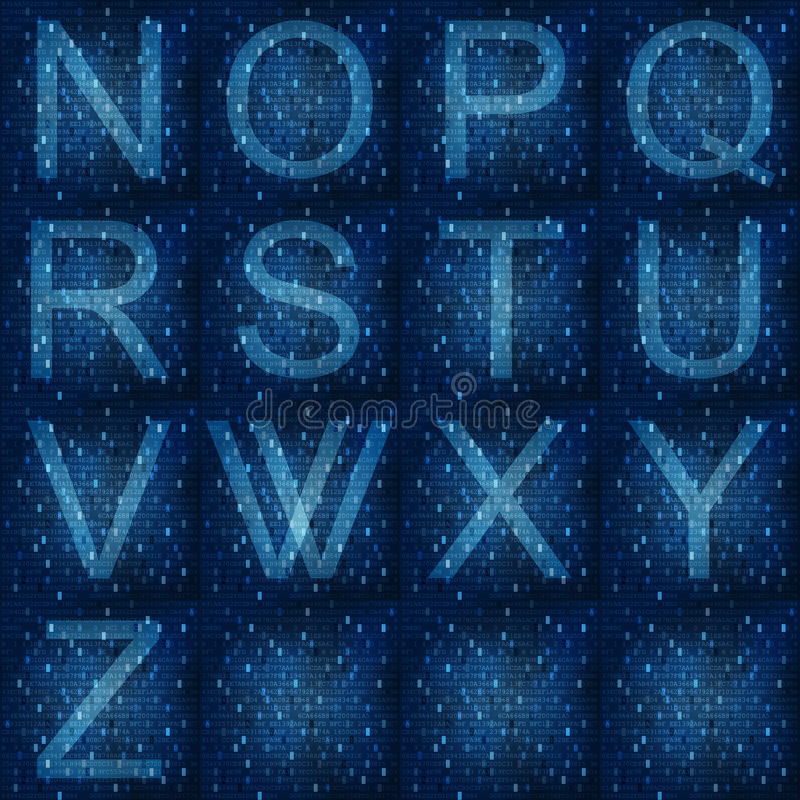 Download Glowing Fonts On Digital Background Stock Illustration - Illustration of letters, screen: 30889825