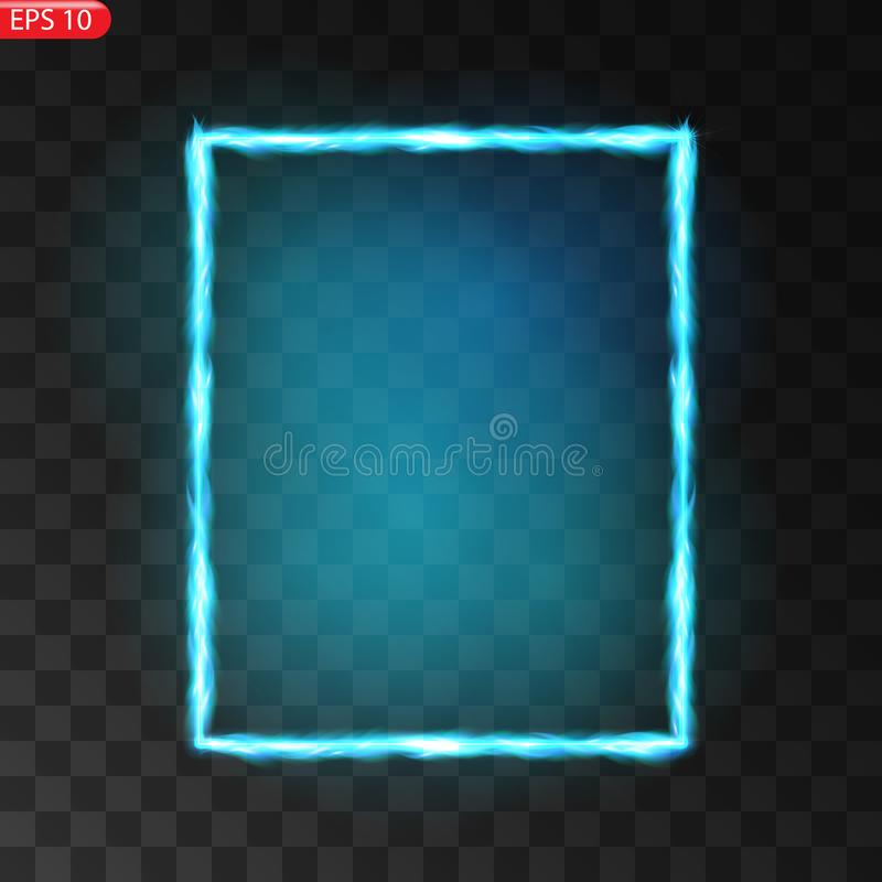 Glowing frames on transparent background. Square glow borders. Sparkling geometric light banner. Luminous triangle light shape. royalty free illustration