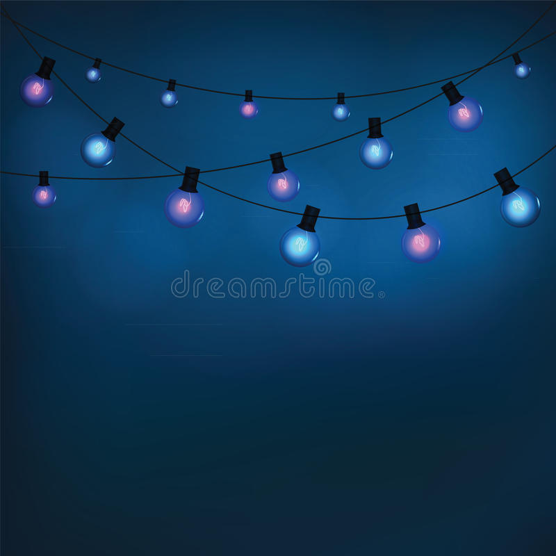 Glowing garland light bulbs vector illustration
