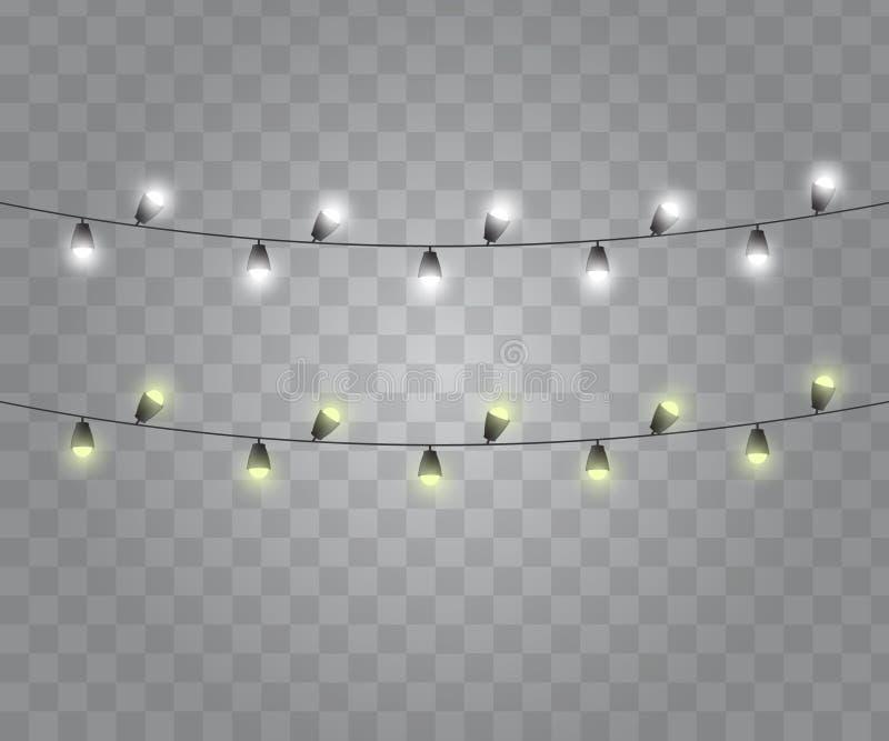 Lights string bulbs. Glowing garland vector. Christmas lights. Lights string bulbs stock illustration