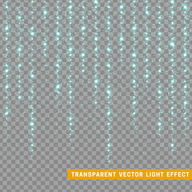 Glowing glitter light effects isolated realistic. Christmas decoration design element. Sunlight lens flare. Shining elements and stars. Blue texture vector illustration