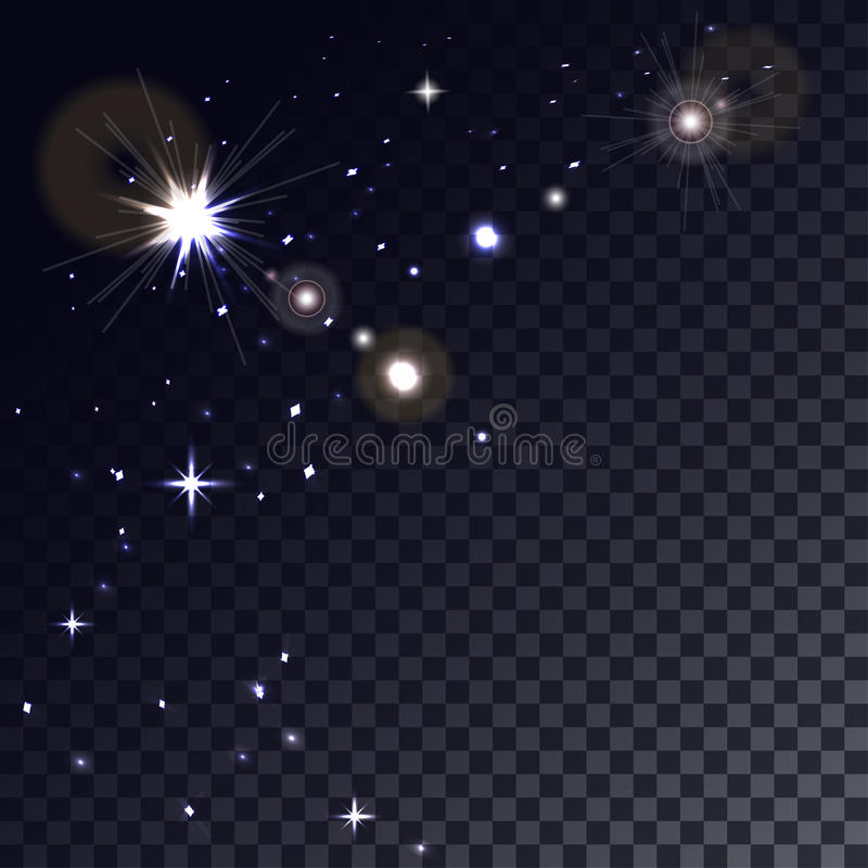 Glowing glitter sparkles on transparent background. Stars in Space. Magic light particle. Glowing glitter sparkles on transparent background vector illustration