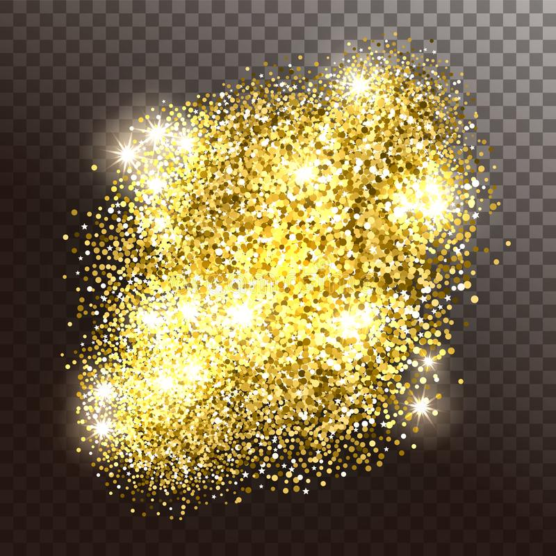 Glowing gold sparkles or shiny particles. On a transparent background. Vector illustration royalty free illustration