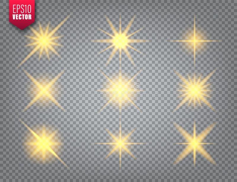 Glowing golden light set on transparent background. Lens flare effect. Bright sparkling flash, sunlight. Vector. Illustration royalty free illustration