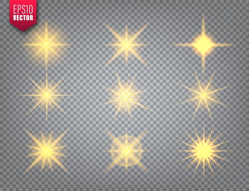 Glowing golden light set on transparent background. Lens flare effect. Bright sparkling flash, sunlight. Vector. Illustration vector illustration