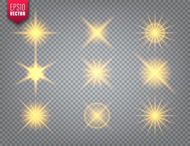 Glowing golden light set on transparent background. Lens flare effect. Bright sparkling flash, sunlight. Vector. Illustration stock illustration
