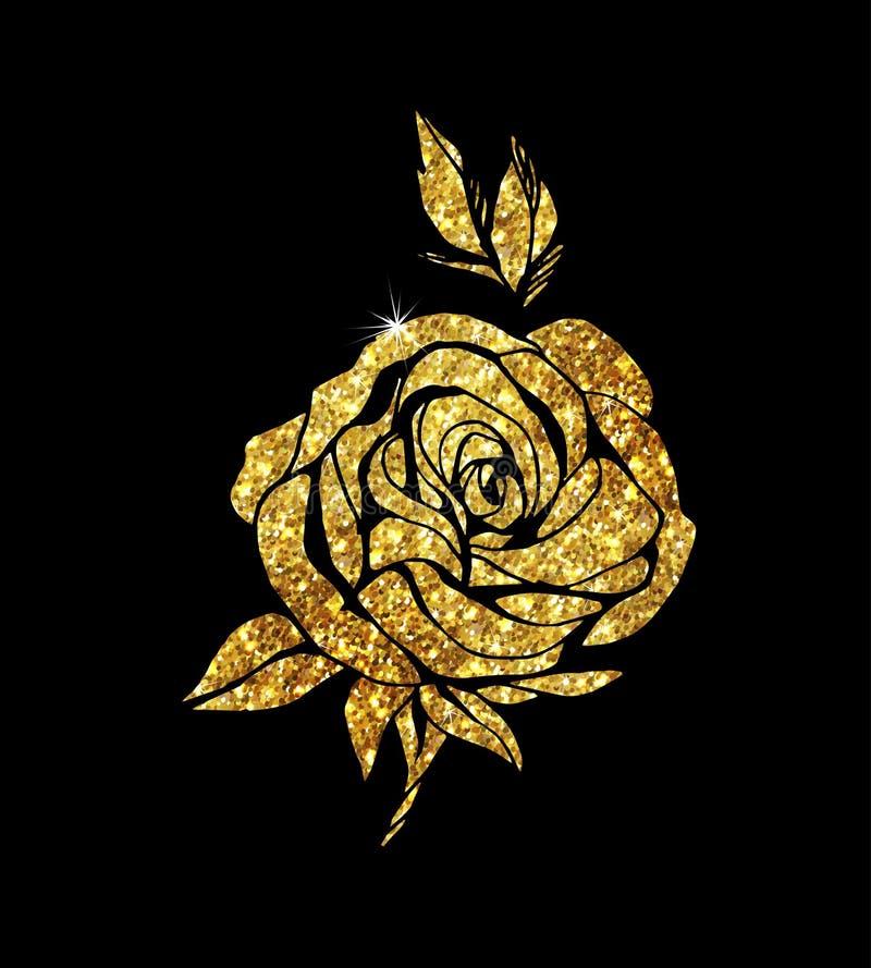 Glowing golden rose stock illustration