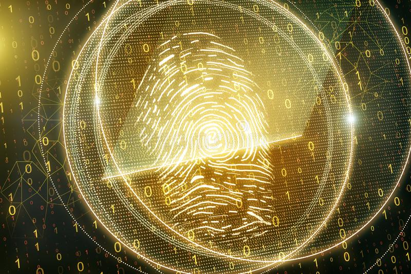 Glowing golden thumb print. On blurry binary code background. Access, password and scanning concept. 3D Rendering royalty free illustration