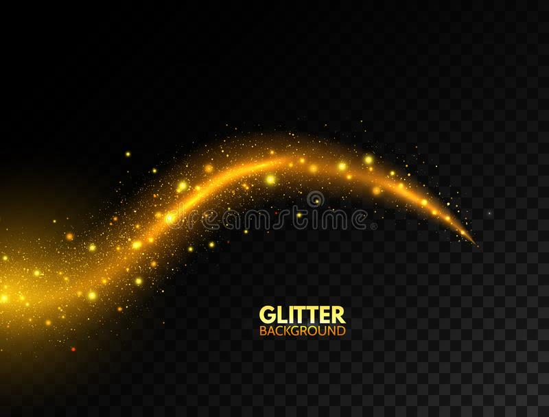 Glowing golden wave. Glitter gold curved lines. Star dust. Sparkling magic wave with bright particles. Fire glare swirl stock illustration