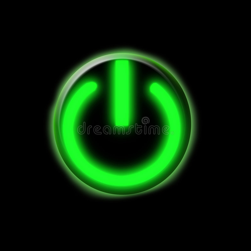 Glowing green button. Glowing green power on button vector illustration