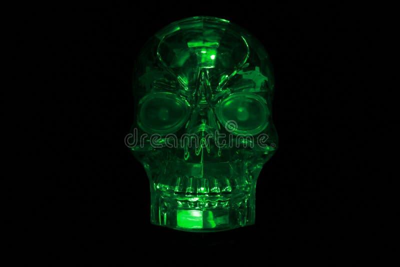 Glowing Green Glass Skull royalty free stock photo