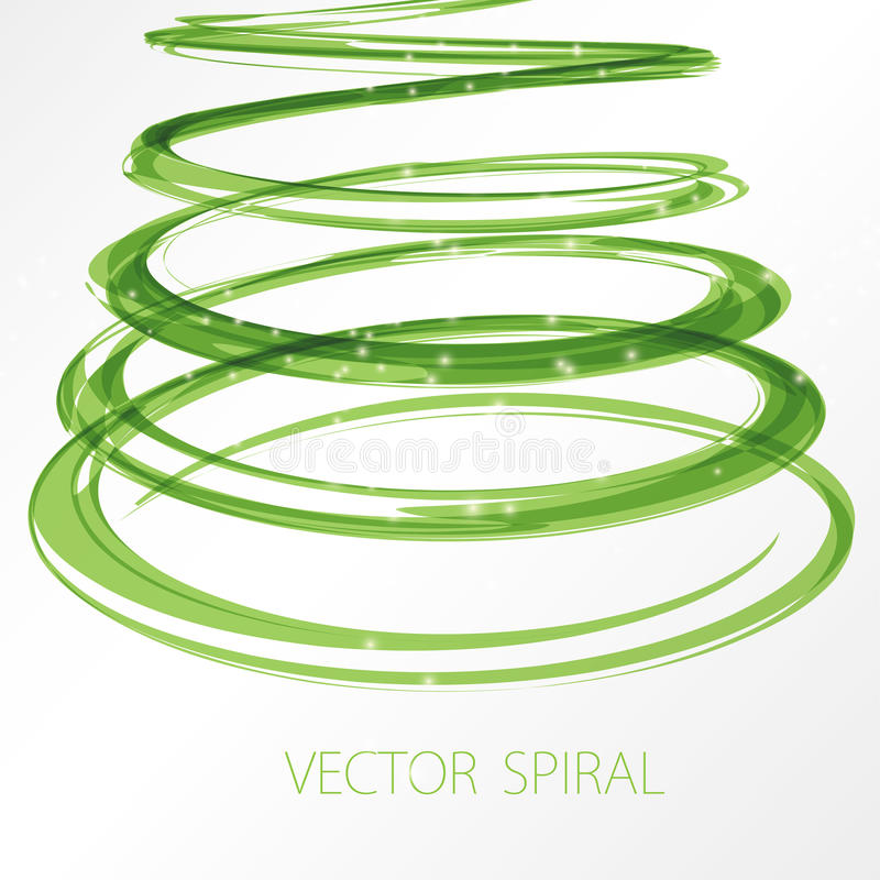 Glowing green spiral on white background. Nature colors abstract light hi tech concept vector illustration