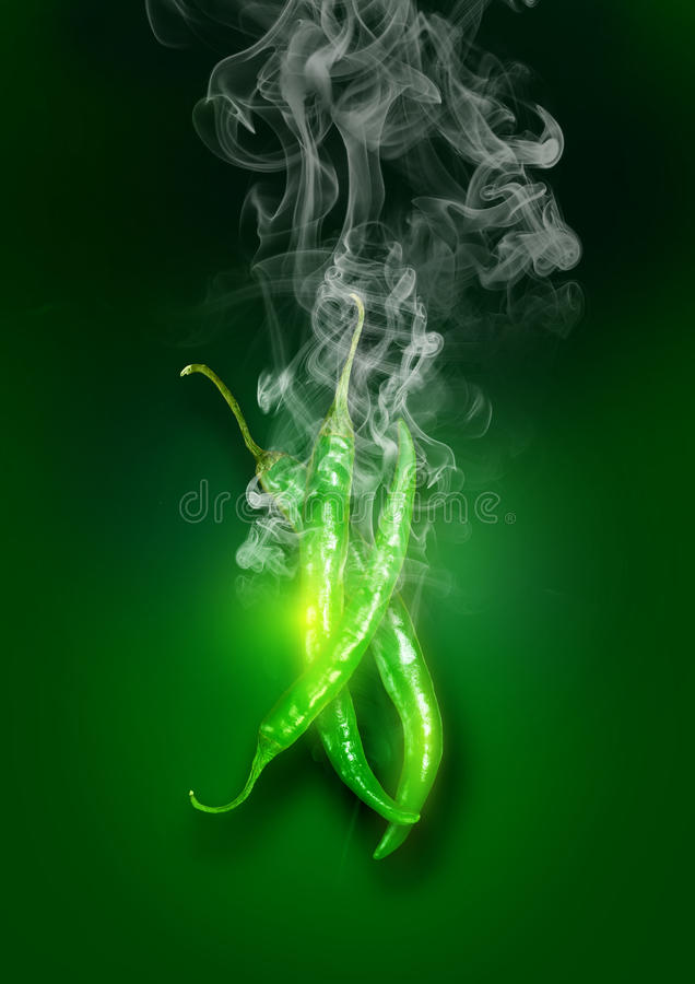 Glowing Green Super Hot Chili Peppers royalty free stock photography
