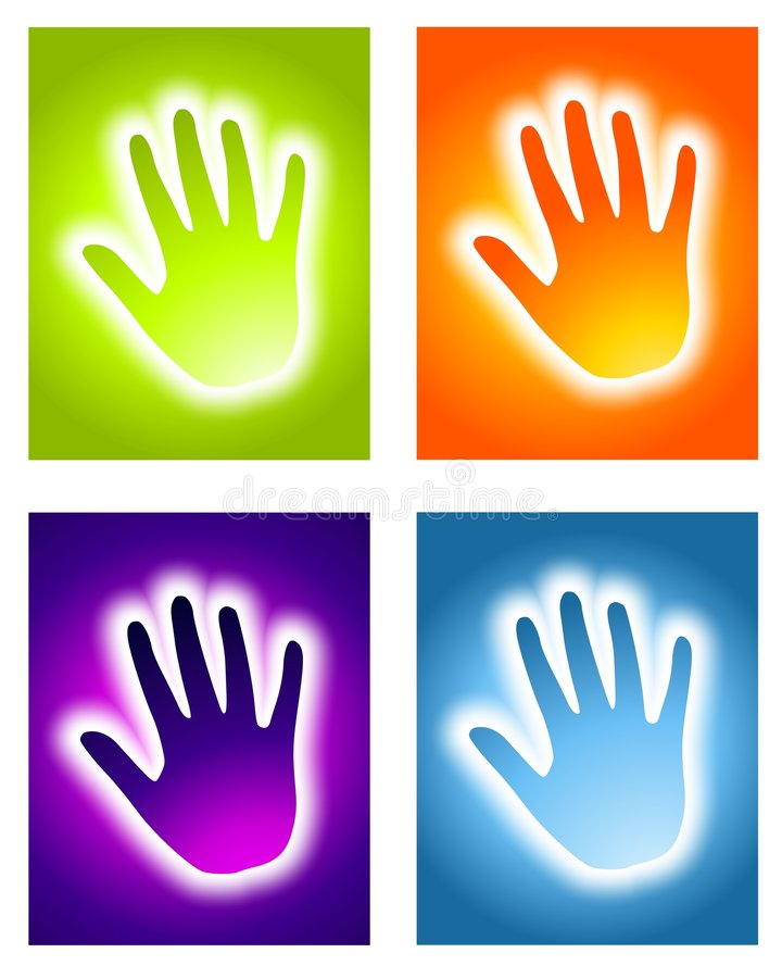 Glowing Handprint Aura Backgrounds stock illustration