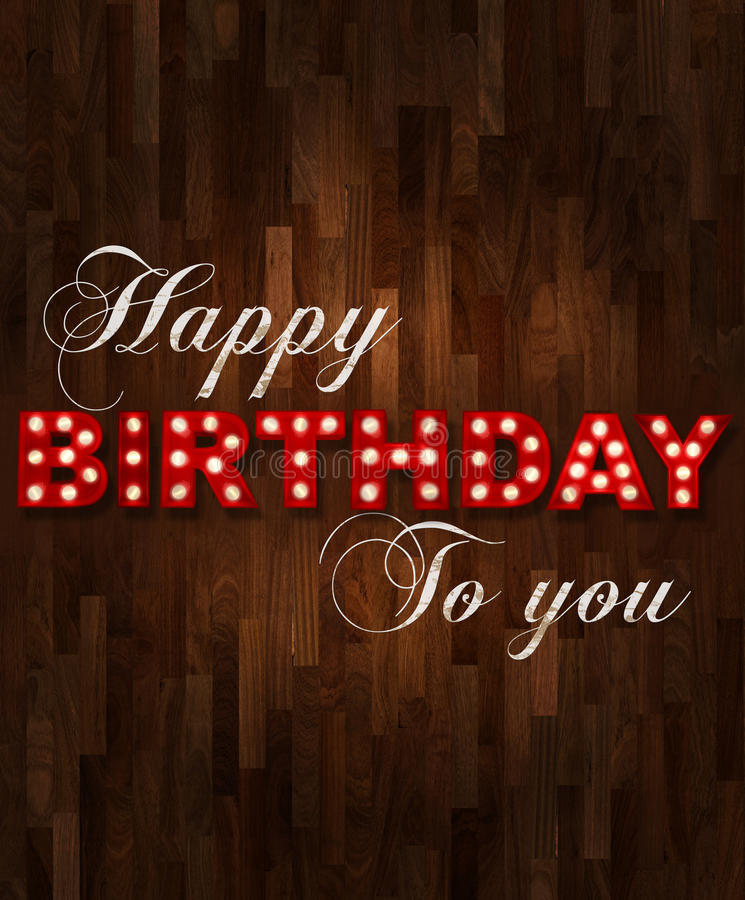 Glowing Happy birthday on parquet stock illustration