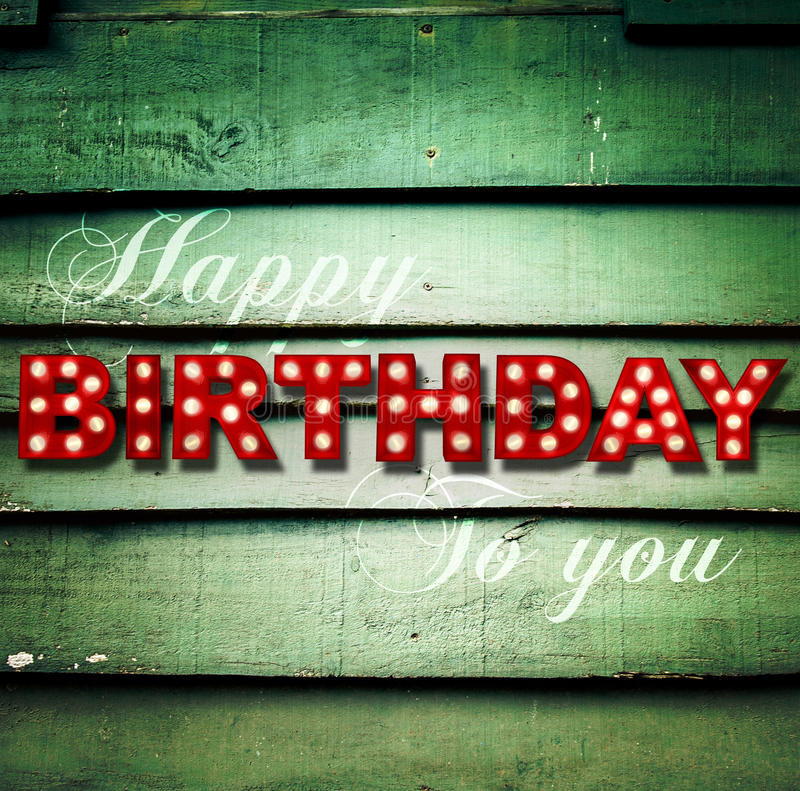 Glowing Happy Birthday on wooden background vector illustration