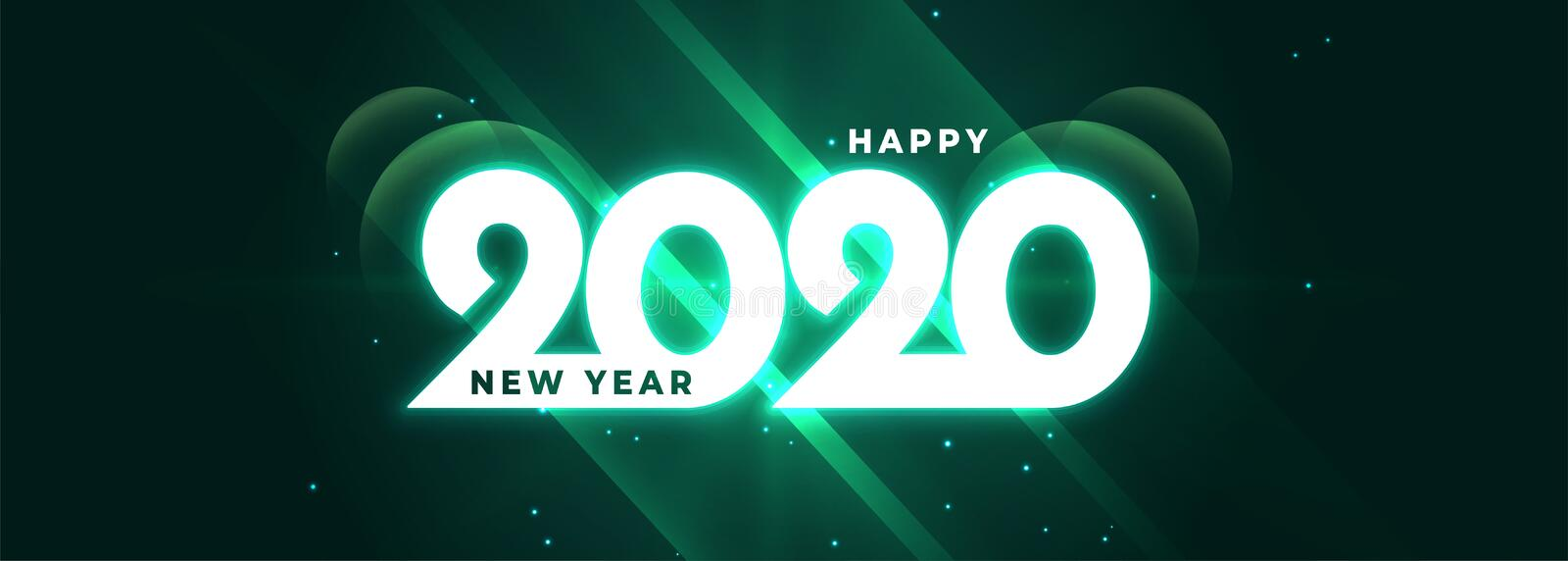 Glowing happy new year 2020 shiny banner design royalty free illustration