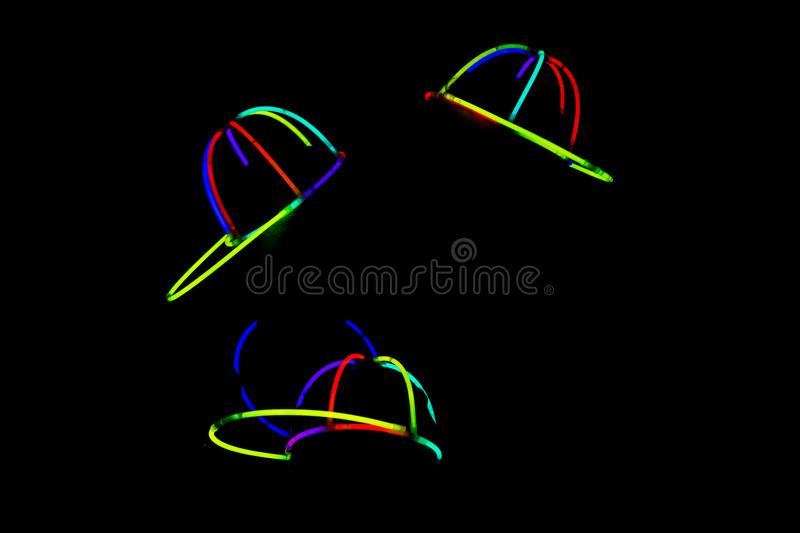 Glowing hats at party stock photo