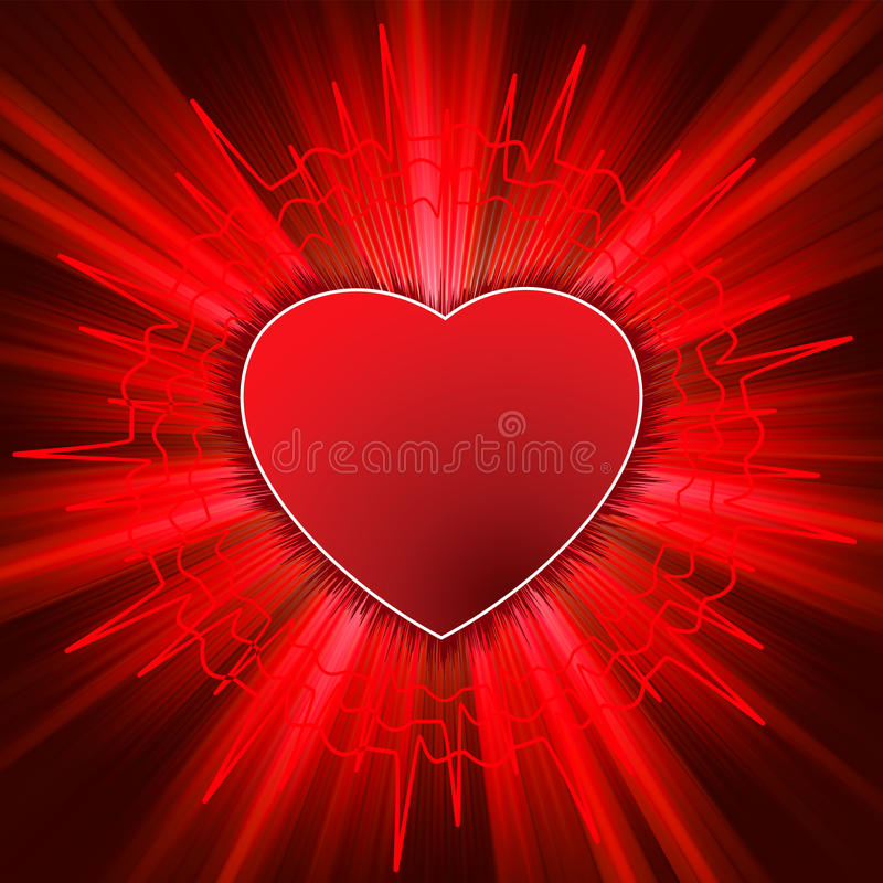 Glowing Heart with heartbeat. EPS 8 vector illustration