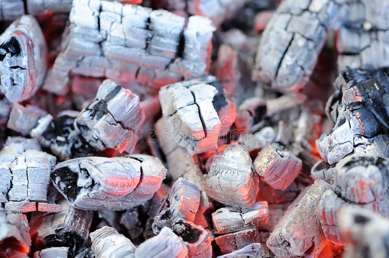 Glowing Hot Wood Embers royalty free stock image