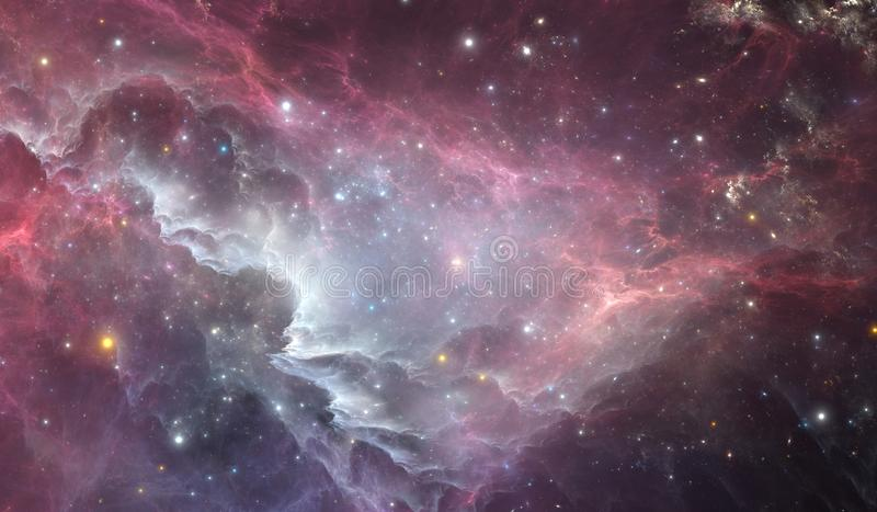 Glowing huge nebula with young stars. Space background royalty free stock images