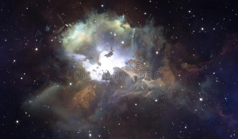 Glowing huge nebula with young stars. Space background stock images