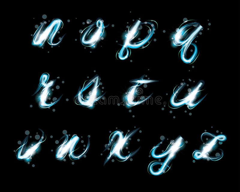 Glowing ice blue light effect glitter text lowercase n-z vector illustration