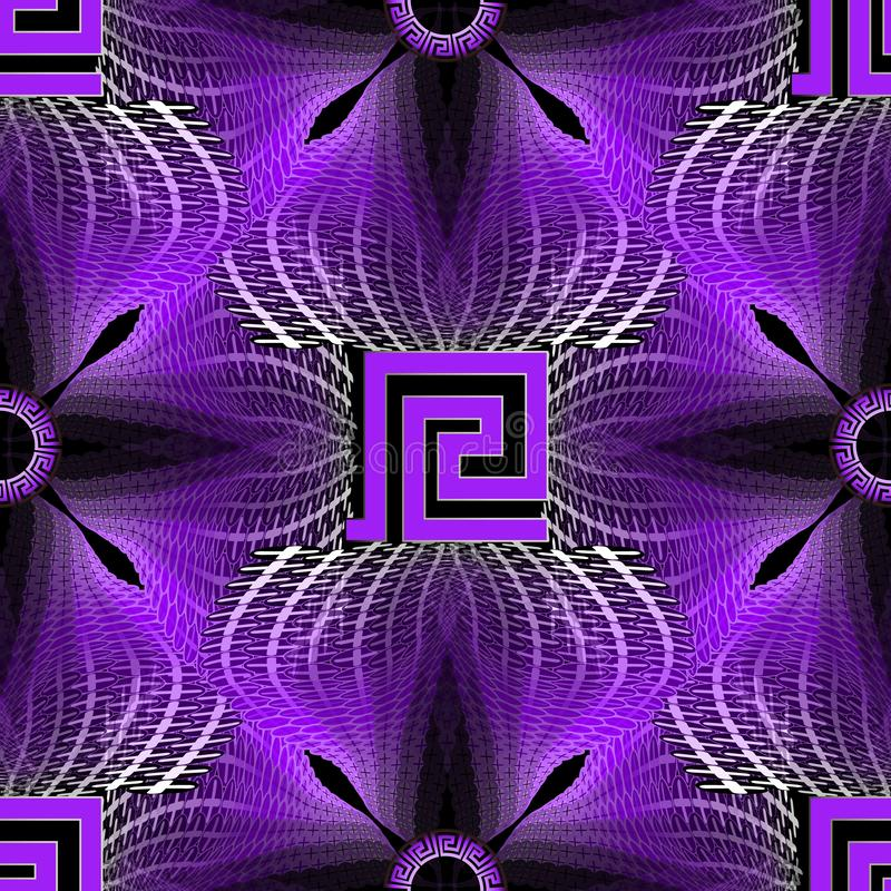 Glowing illuminated halftone greek vector seamless pattern. Modern vibrant neon background. Colorful repeat geometric backdrop. stock illustration