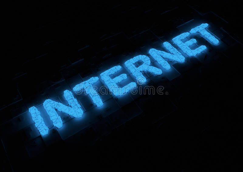 Glowing Internet Typography Stock Photography
