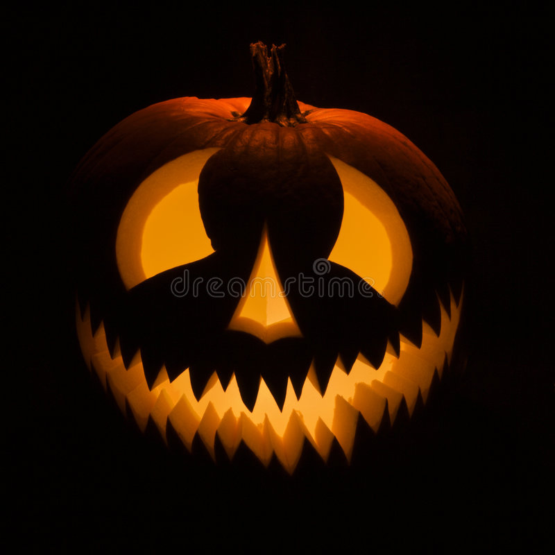 Glowing jack-o'-lantern. stock photography